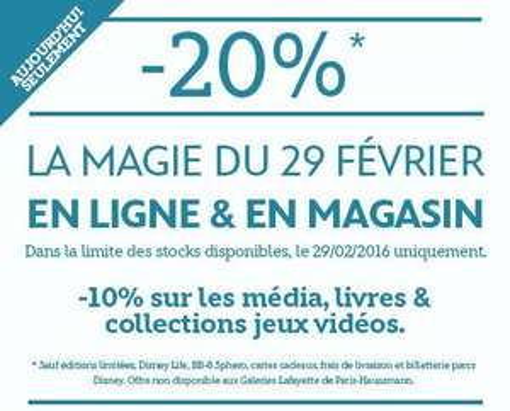 20% de réduction sur tout le site (-10% sur les médias, livres, collections et jeux vidéo) en ligne et en magasin