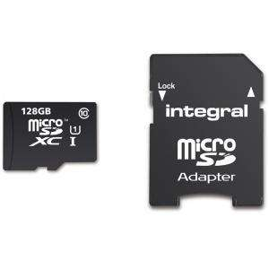 Carte microSDXC Integral Classe 10 (jusqu'à 80 Mo/s) - 128 Go