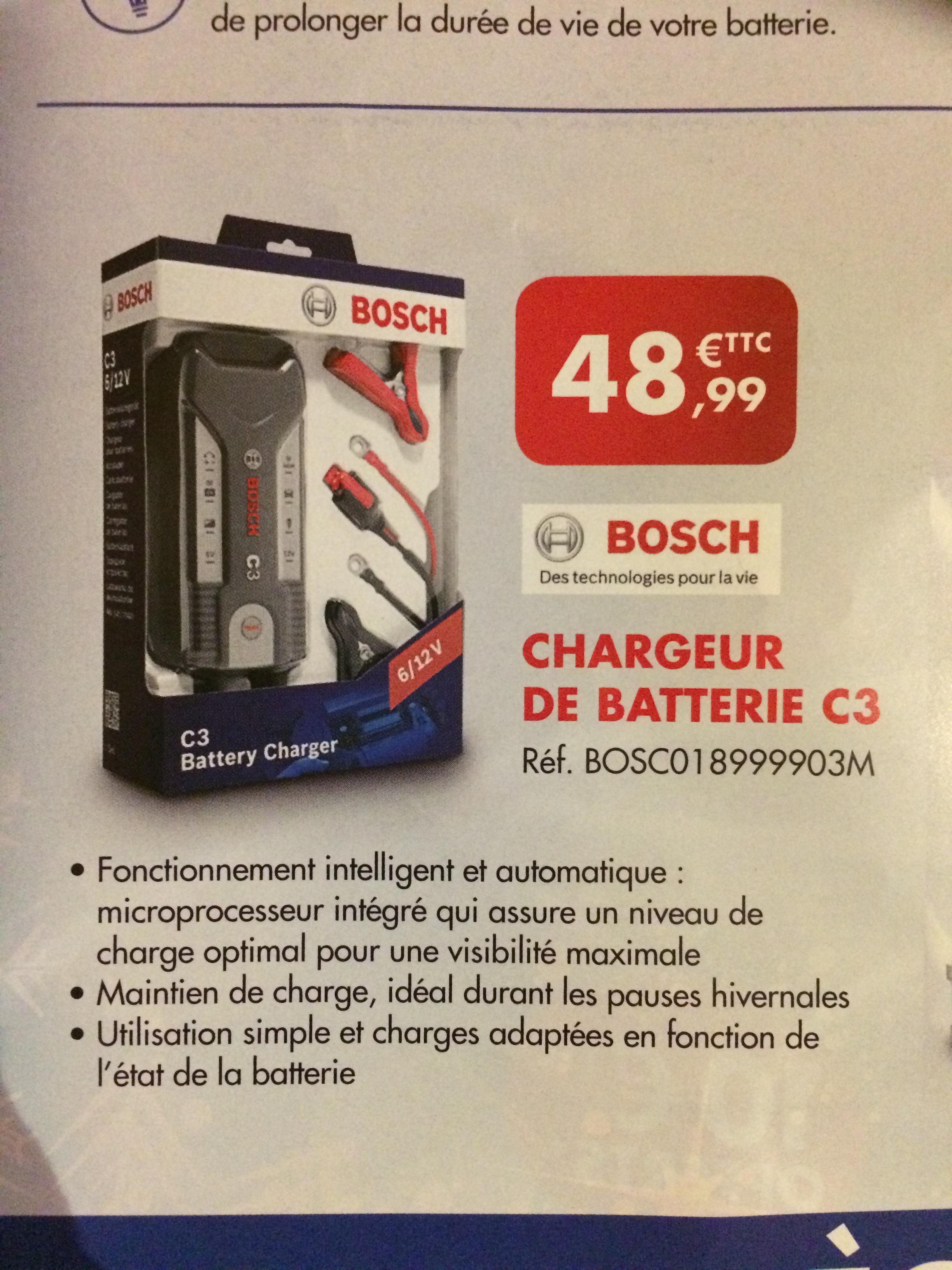Chargeur de batterie Bosch C3 6/12V - Evreux (27), Le Havre (76), Dieppe (76), Petit Quevilly (76), Rouen (76) - autodistribution