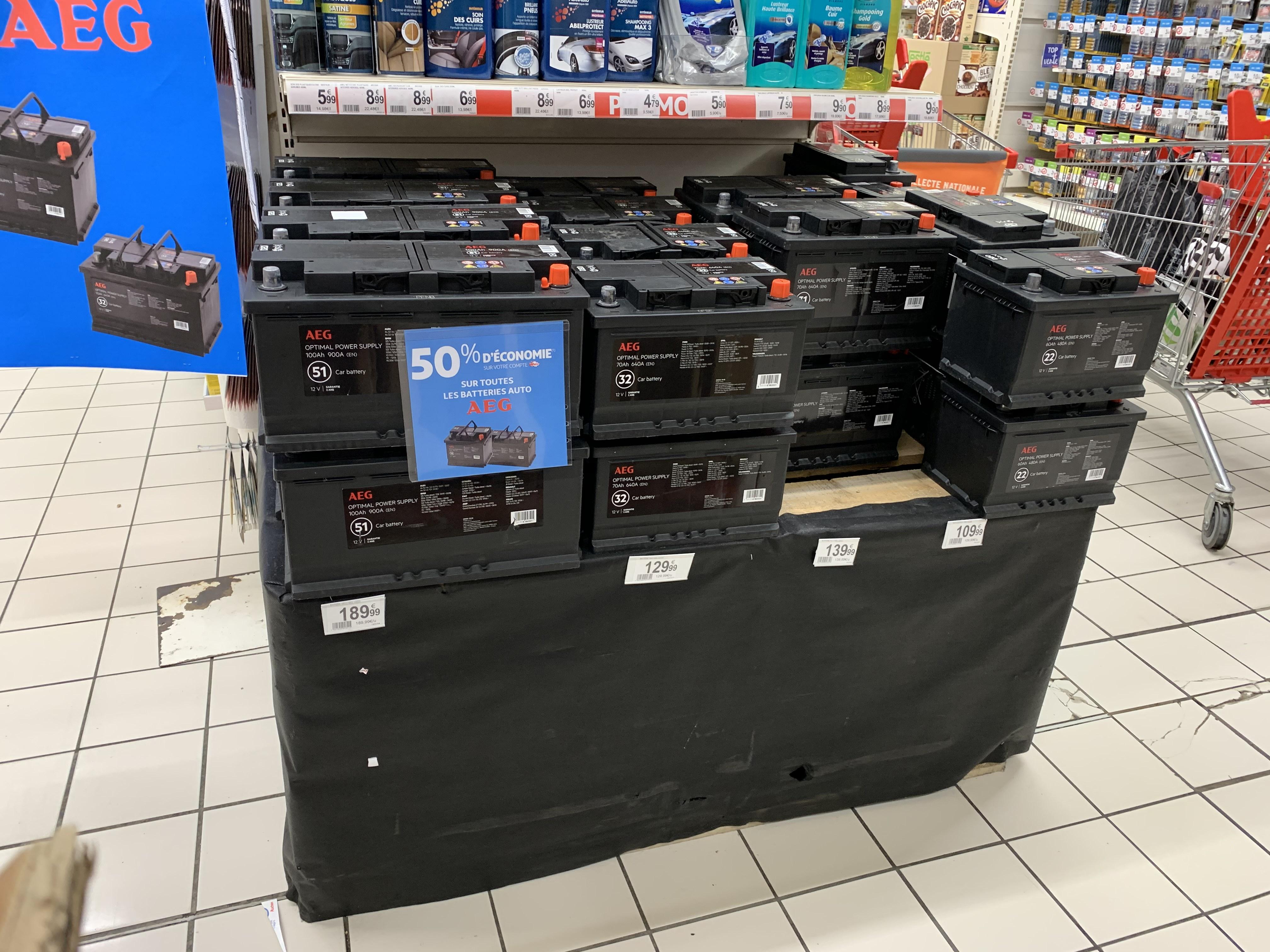 50% remise fidélité sur une sélection de batteries AEG - Auchan Villebon2 (91)