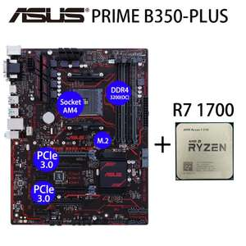 Kit d'évolution Processeur Ryzen 7 1700 + Carte mère Asus Prime B350 Plus