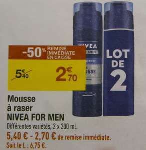 Mousse à raser Nivea for men Lot de 2x200ml -50% en caisse