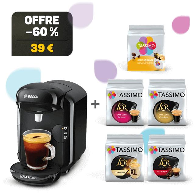 Machine à café Bosch Tassimo Vivy 2 + 5 paquets de capsules