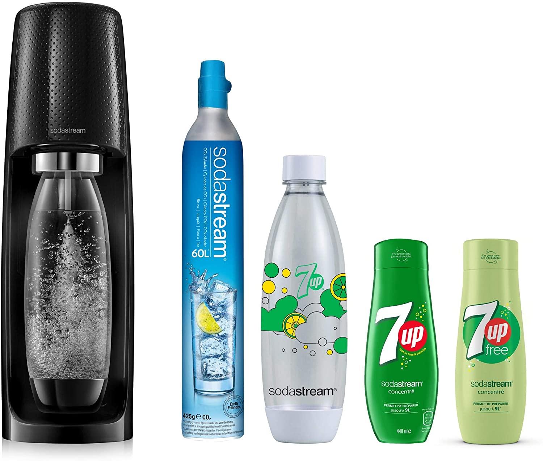 Machine Sodastream Spirit Noire Plastique + Recharge + Bouteille Fuse 7UP 1L + 2 Concentrés 7UP