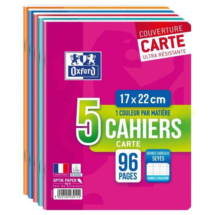 Lot 5 cahiers Carte OXFORD agrafes - 96 pages, 90g, Grands carreaux Seyes, 17x22cm