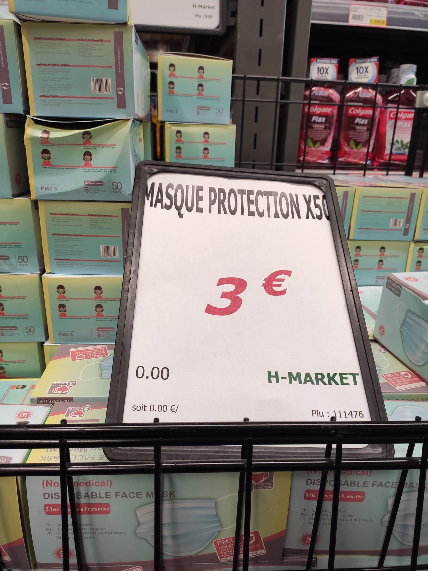 Paquet de 50 Masques de protection - H Market Saint Ouen l'Aumône (95)