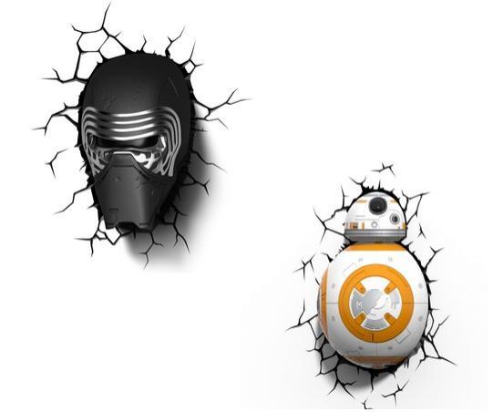 Lot de 2 lampes murales 3D Star Wars