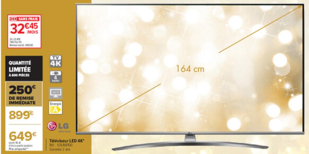 """TV 65"""" LG 65UN8100 (2020) - 4K, 50 Hz (traitement 100Hz), HDR10 Pro, HDMI 2.0, Dolby Digital, Smart TV (Via 120€ en bons d'achats)"""