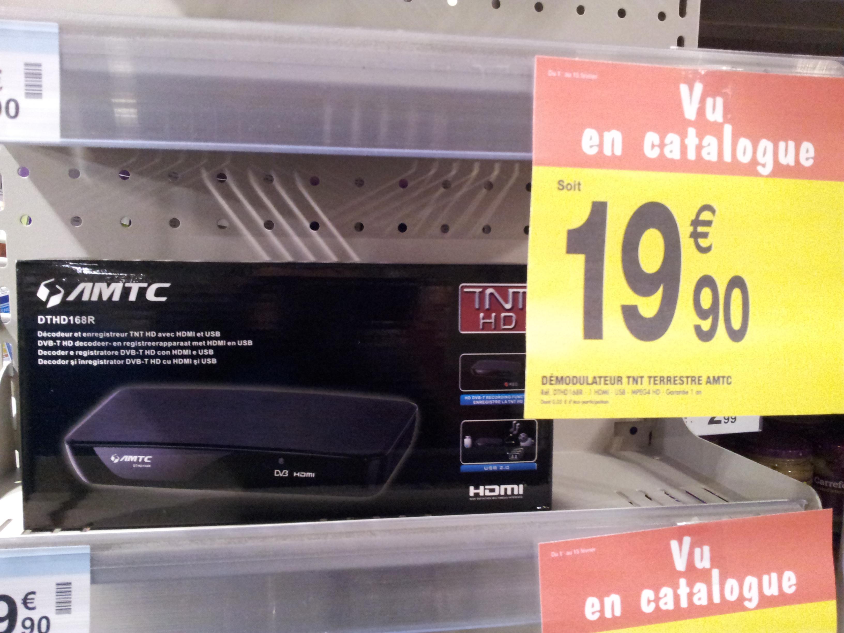 Récepteur numérique TNT HD AMTC DTHD168R (HDMI/USB)