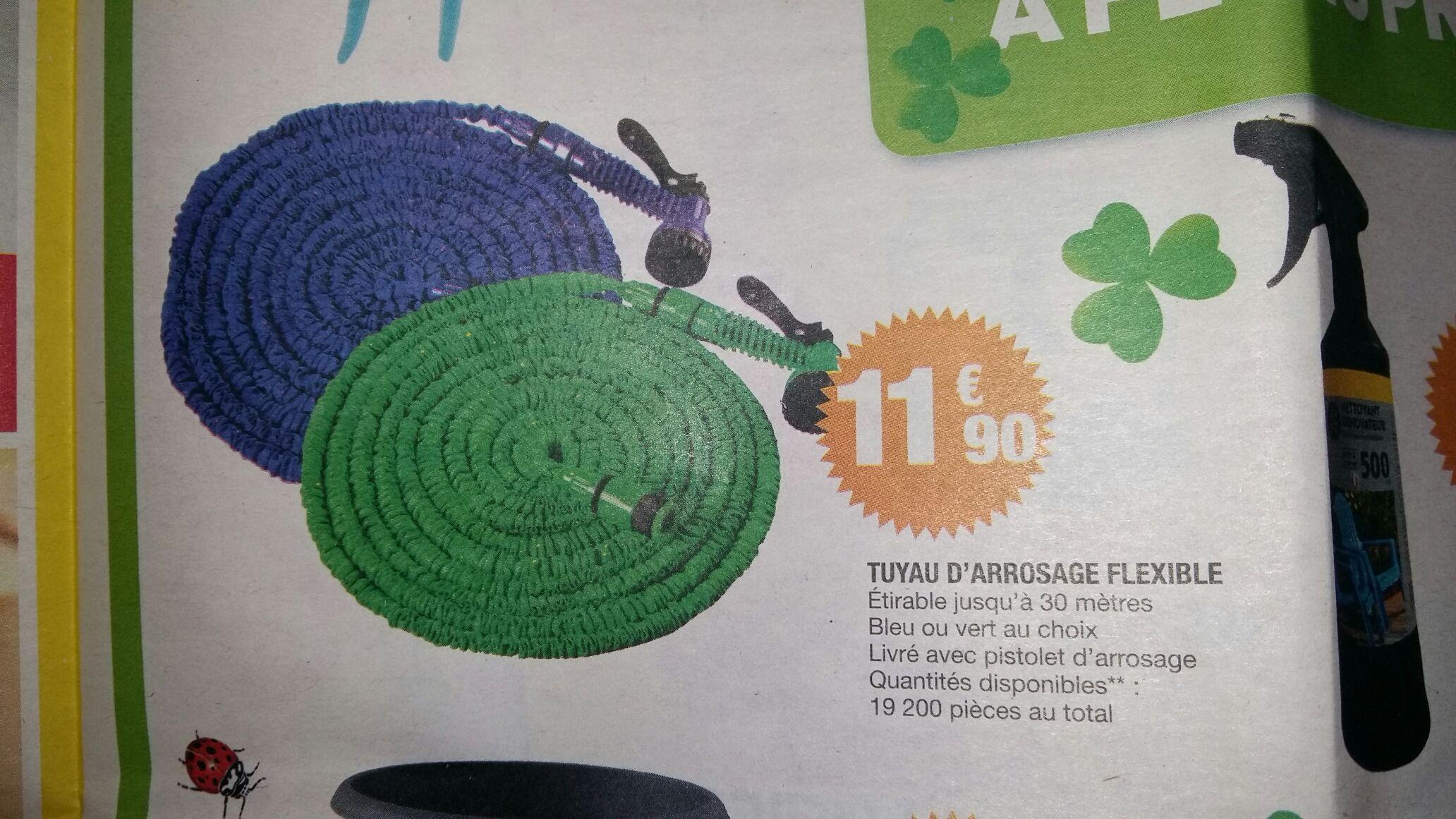 Tuyau d'arrosage flexible (jusqu'à 30m) - Bleu ou Vert