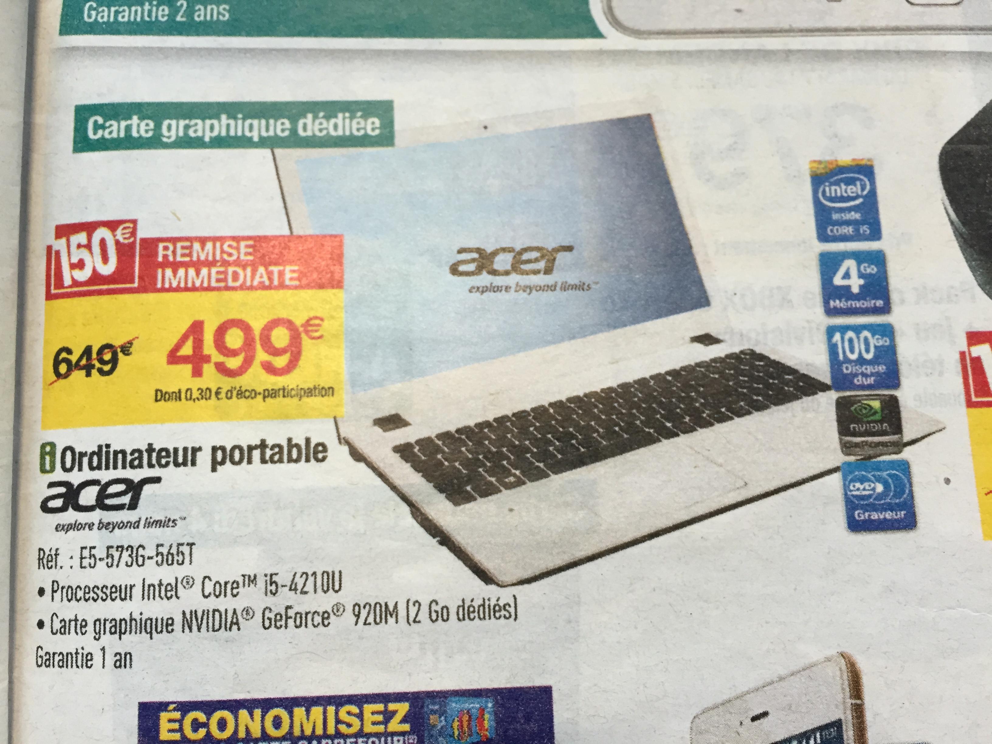 "PC Portable 15,6"" Acer Aspire E5-573G-565T - i5-4210U, RAM 4 Go, HDD 1 To, GeForce GT920M"