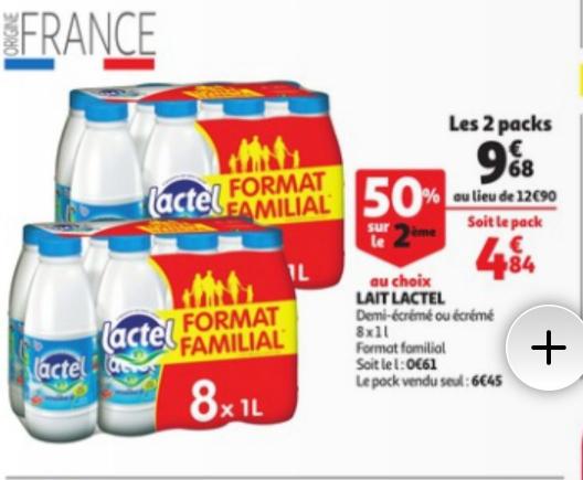 Lot de 2 packs de bouteilles de Lait Lactel - 2 x 8l