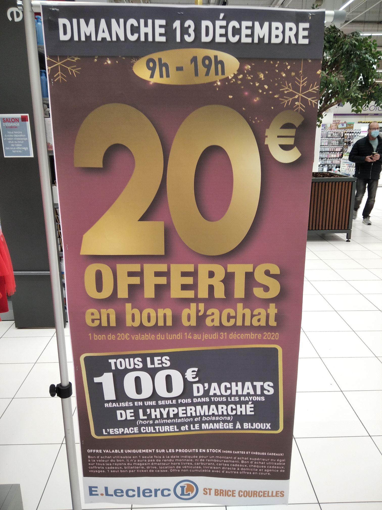 20€ offerts en bon d'achat tous les 100€ de courses - Saint-Brice-Courcelles (51)