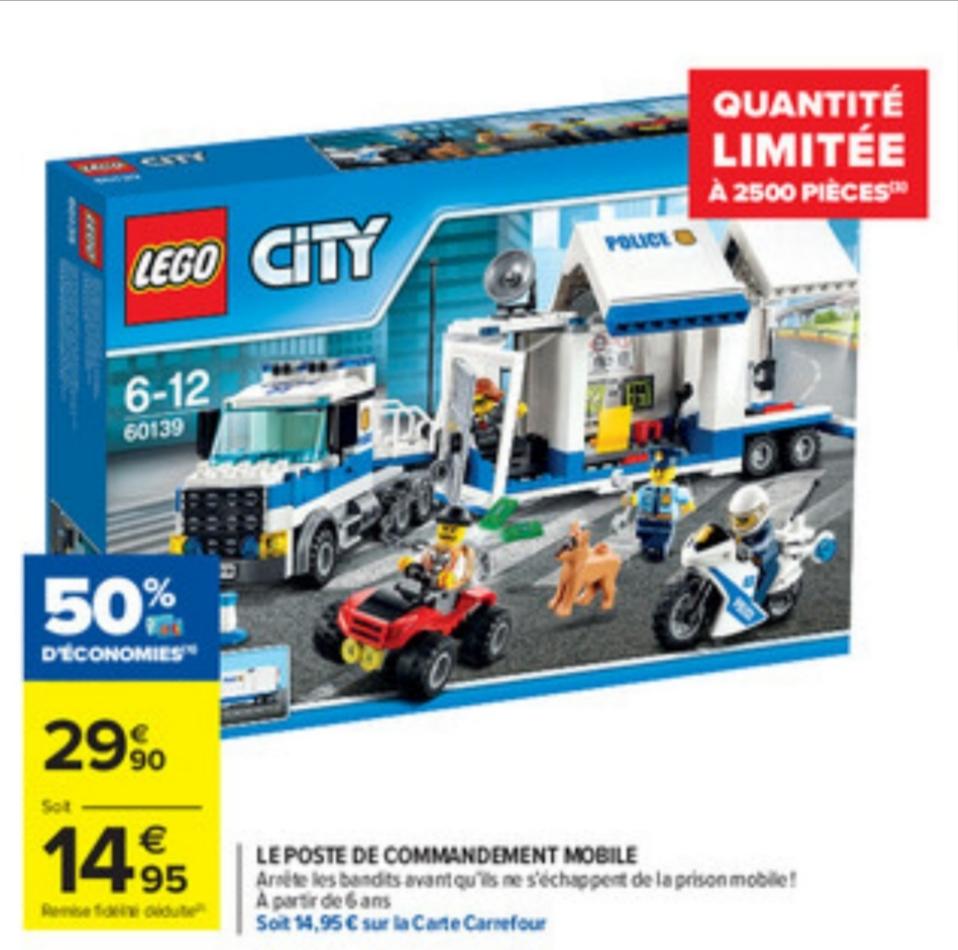 Jeu de construction Lego City - Le poste de commandement mobile n°60139 (Via 14.95€ sur la carte de fidélité)