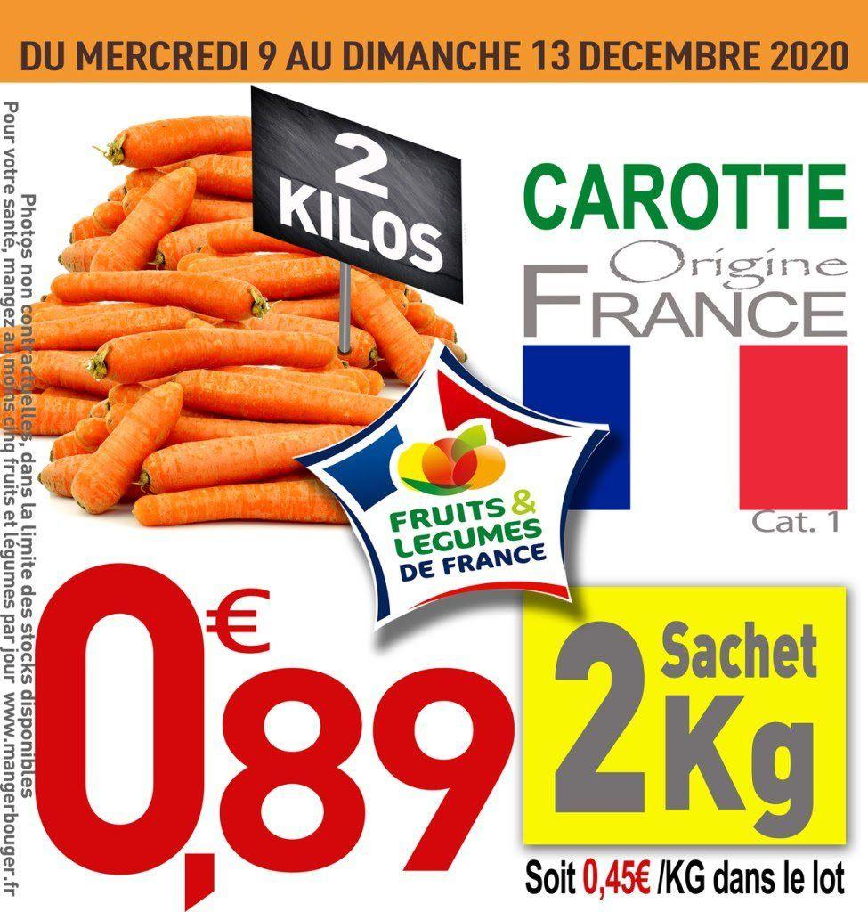 Sachet de 2 kg de carottes origine France catégorie 1