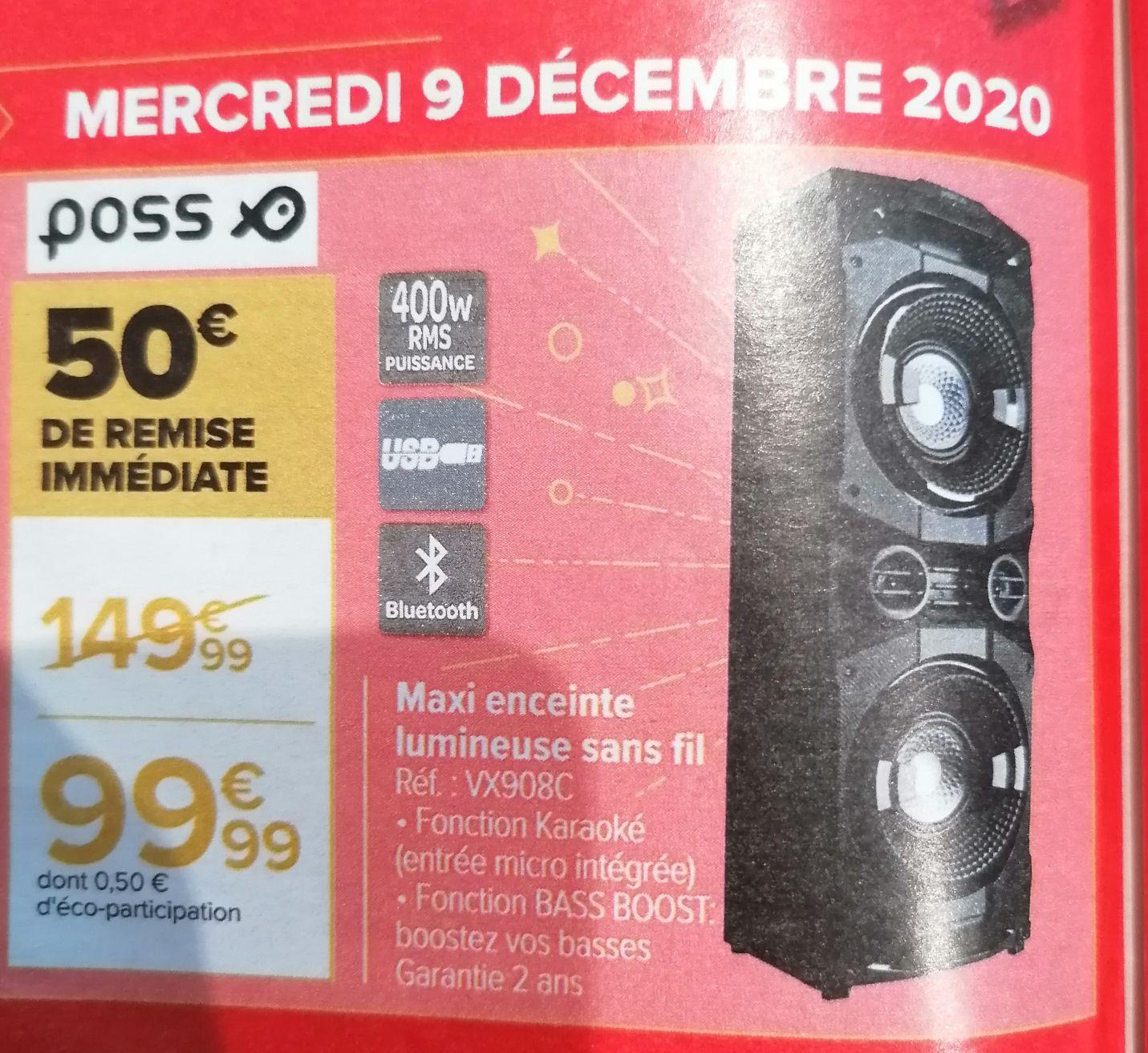 Sélection d'articles en promotion - Ex: Enceinte Bluetooth karaoké Poss - 400 W RMS, Bast Boost, avec effets lumineux