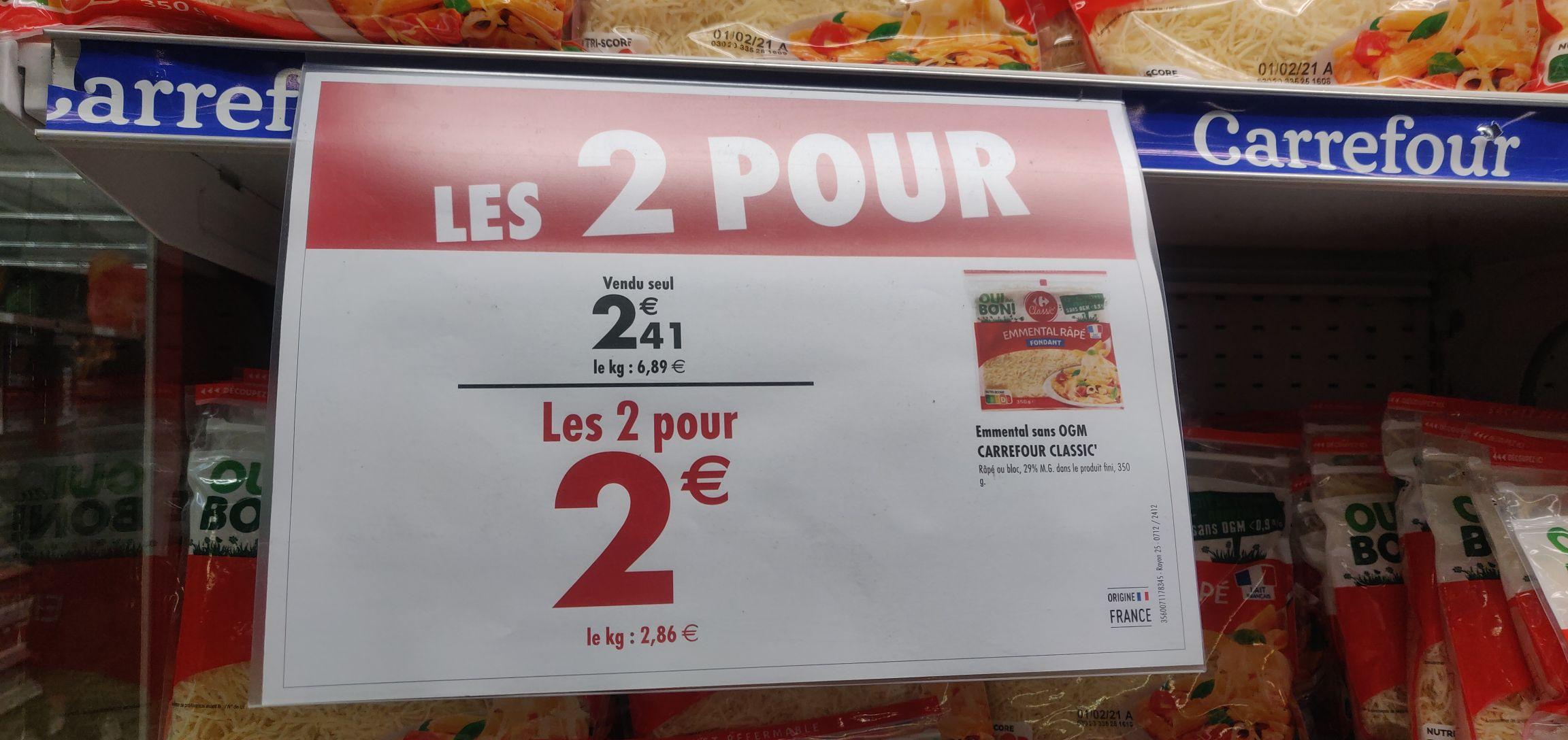 Lot de 2 sachets d'emmental râpé Carrefour Classic (2x350 g) - Drancy (93)