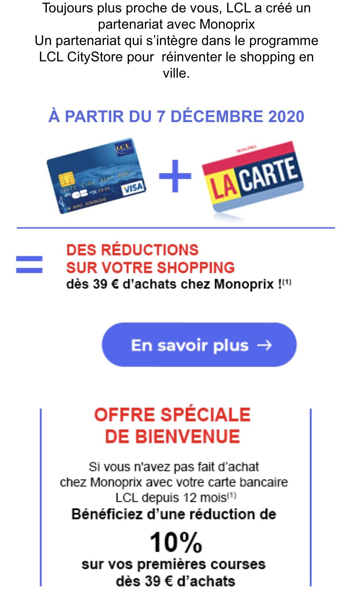 [Carte Bancaire LCL] 10% de réduction sur vos premières courses dès 39€ d'achat