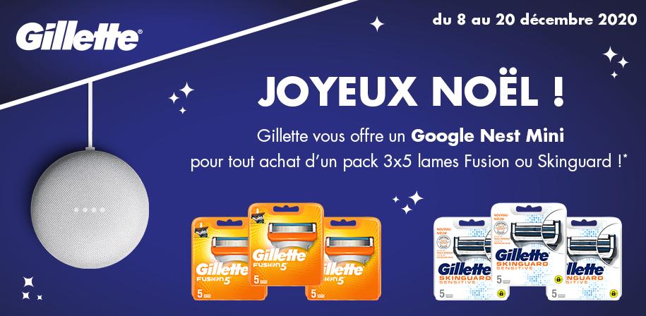 Google Nest Mini offert pour l'achat de d'un lot de lames de rasoir fusion 3x5 Fusion ou Skin Guard (via ODR)