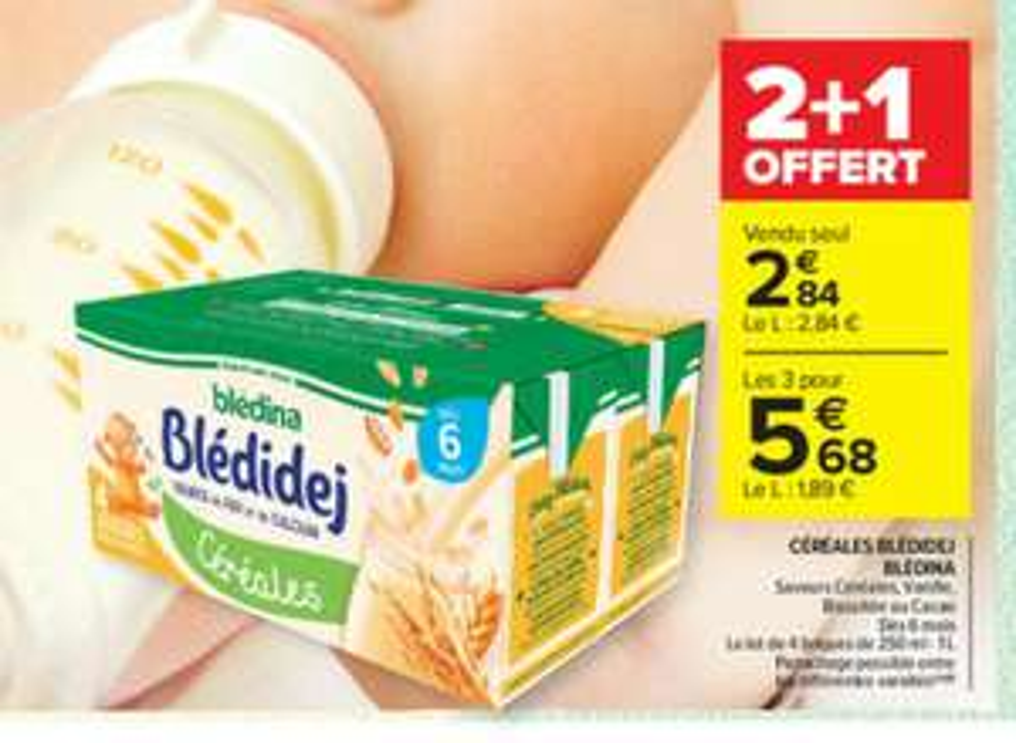 Lot de 12 briques de repas pour bébé céréales Blédina Blédidej - 12x250 ml