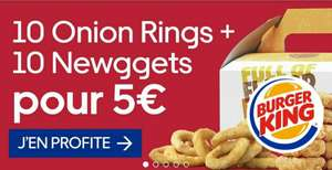 10 Onion Rings + 10 Newggets pour 5€ (via Uber Eats) - Burger King d'Epinay (93) et Paris Nation (75)