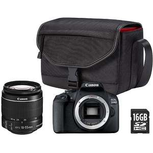 Appareil photo Canon EOS 2000D + Objectif 18-55DC + Fourre tout + Carte