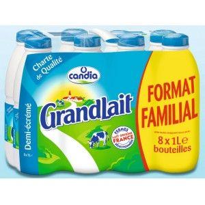 Pack de 8 bouteilles de lait UHT demi-écrémé GrandLait de Candia - 8 x 1 L
