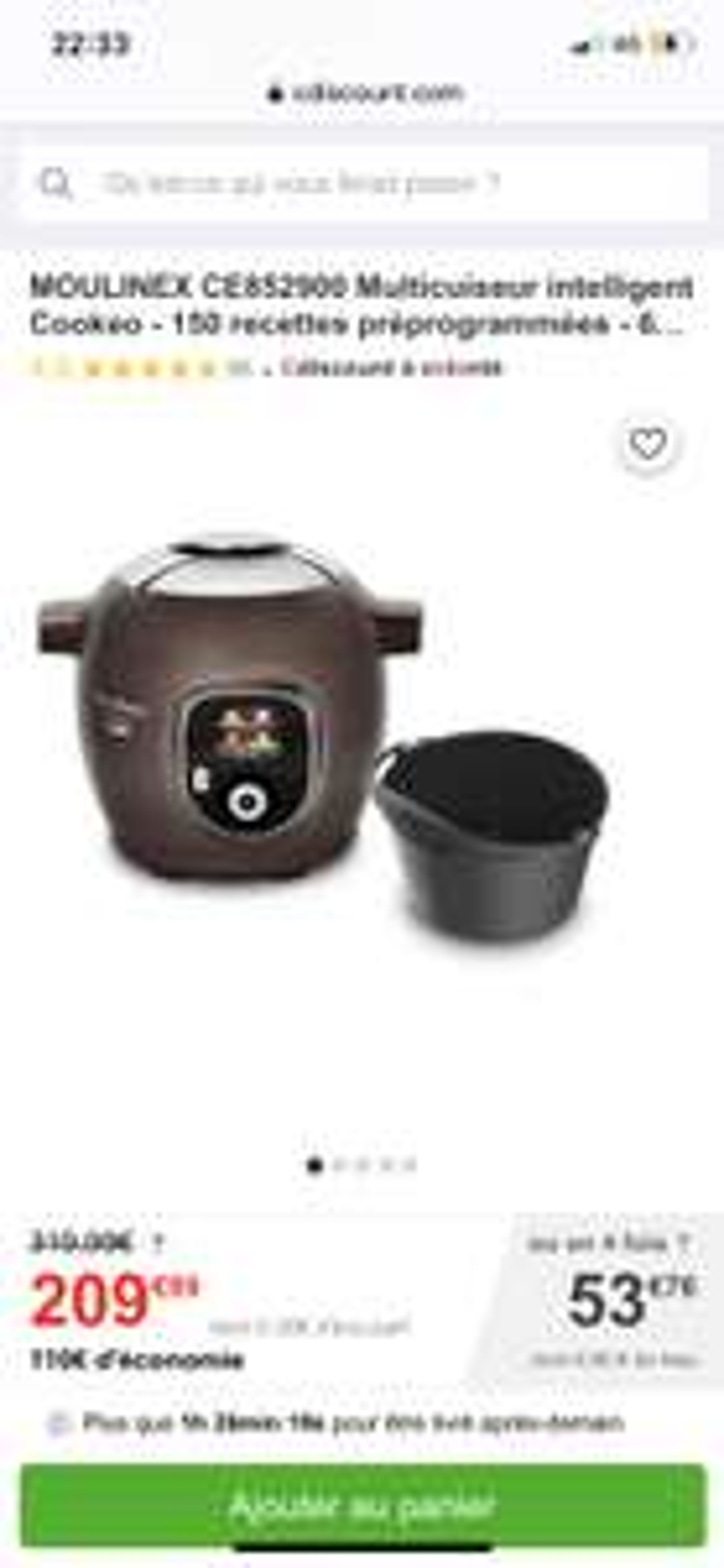 Multicuiseur Moulinex Cookeo+ CE852900 - 150 recettes