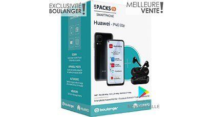 """Smartphone 6.4"""" Huawei P40 Lite - 128Go + Ecouteurs Sans-Fil Freebuds Lite (Sans Services Google)"""