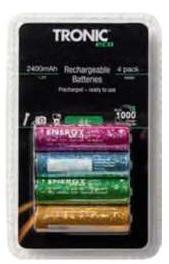 Lot de 4 piles rechargeables AA ou AAA Tronic