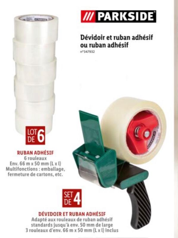 Set Dévidoir + Ruban adhésif (ou lot de 3 rubans adhésifs Parkside pour 2.99€)