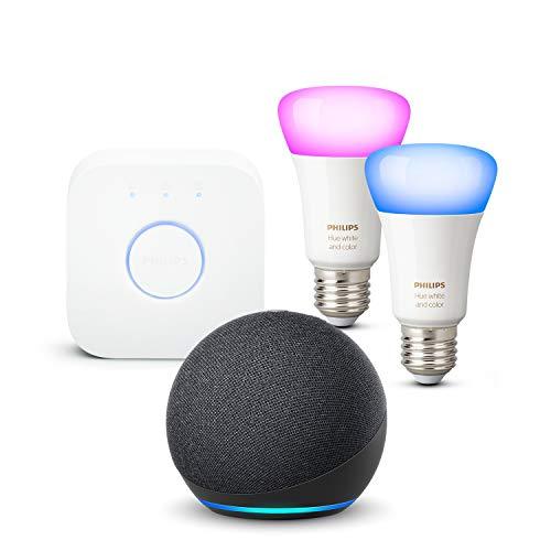 Pack démarrage Philips Hue : Pont v2 + 2 Ampoules White & Color + Amazon Echo Dot 4