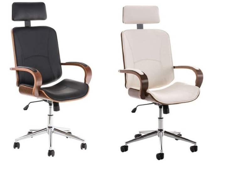 Chaise de bureau Judith (avec rembourrage, en cuir et structure en bois, différents coloris) - ChaisePro.fr