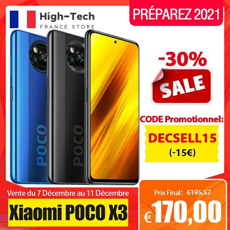 "Smartphone 6.67"" Xiaomi Poco X3 - full HD+ 120 Hz, SnapDragon 732G, 6 Go de RAM, 128 Go (197€ avec le code FRDEC12)"