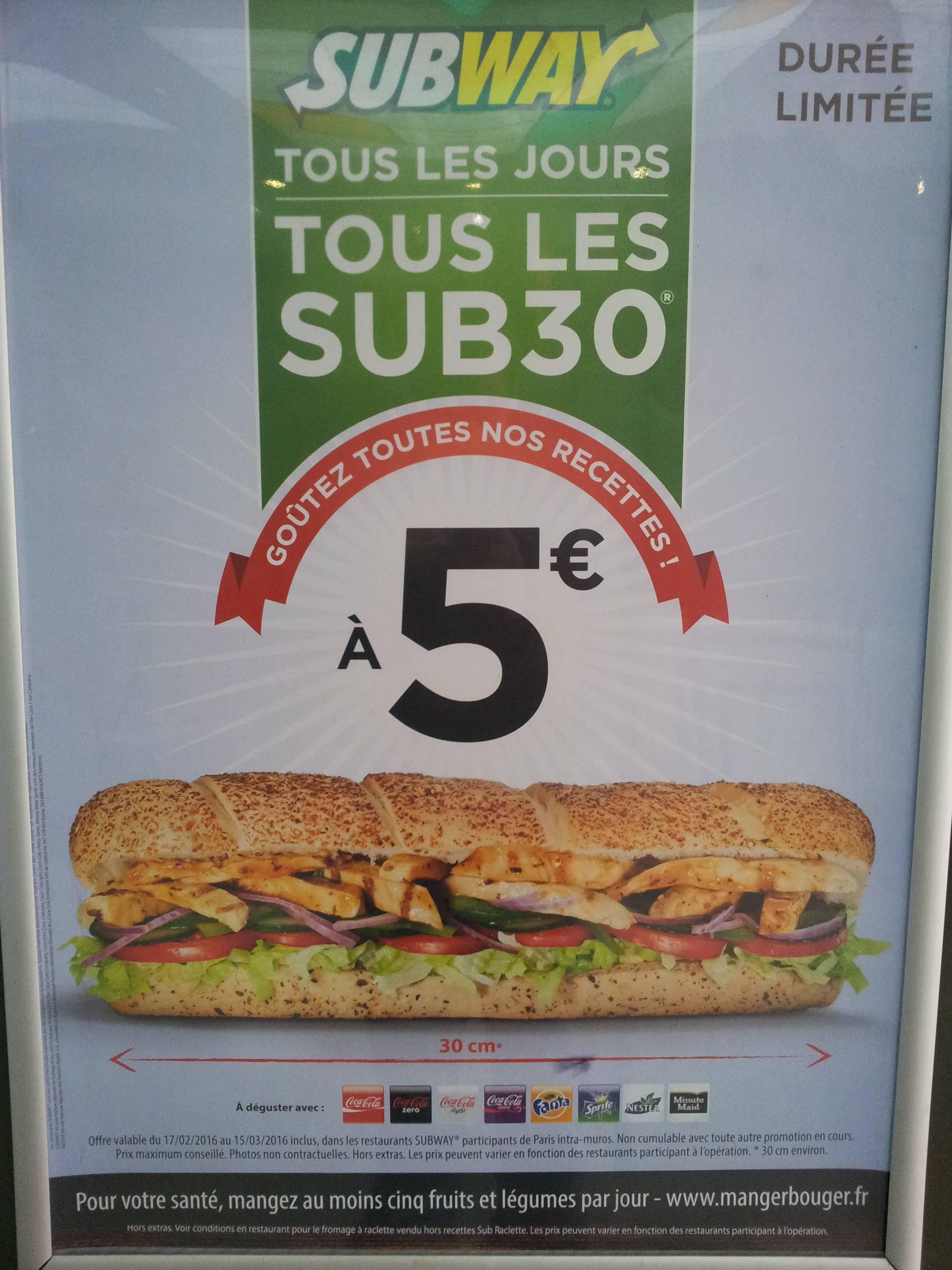Sandwich Sub 30 au choix