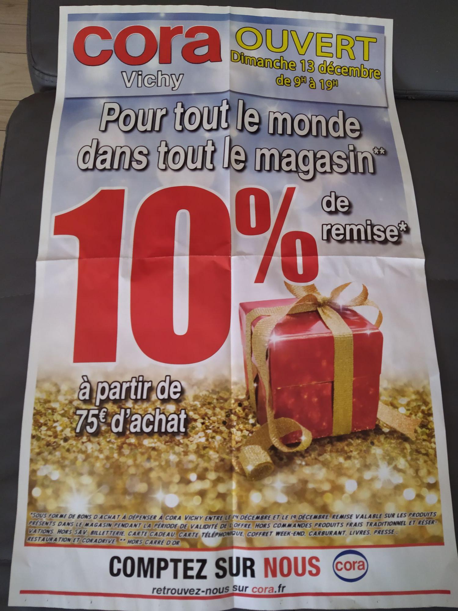 10% de réduction dès 75€ d'achat sur tout le magasin (hors exceptions) - Vichy (03)
