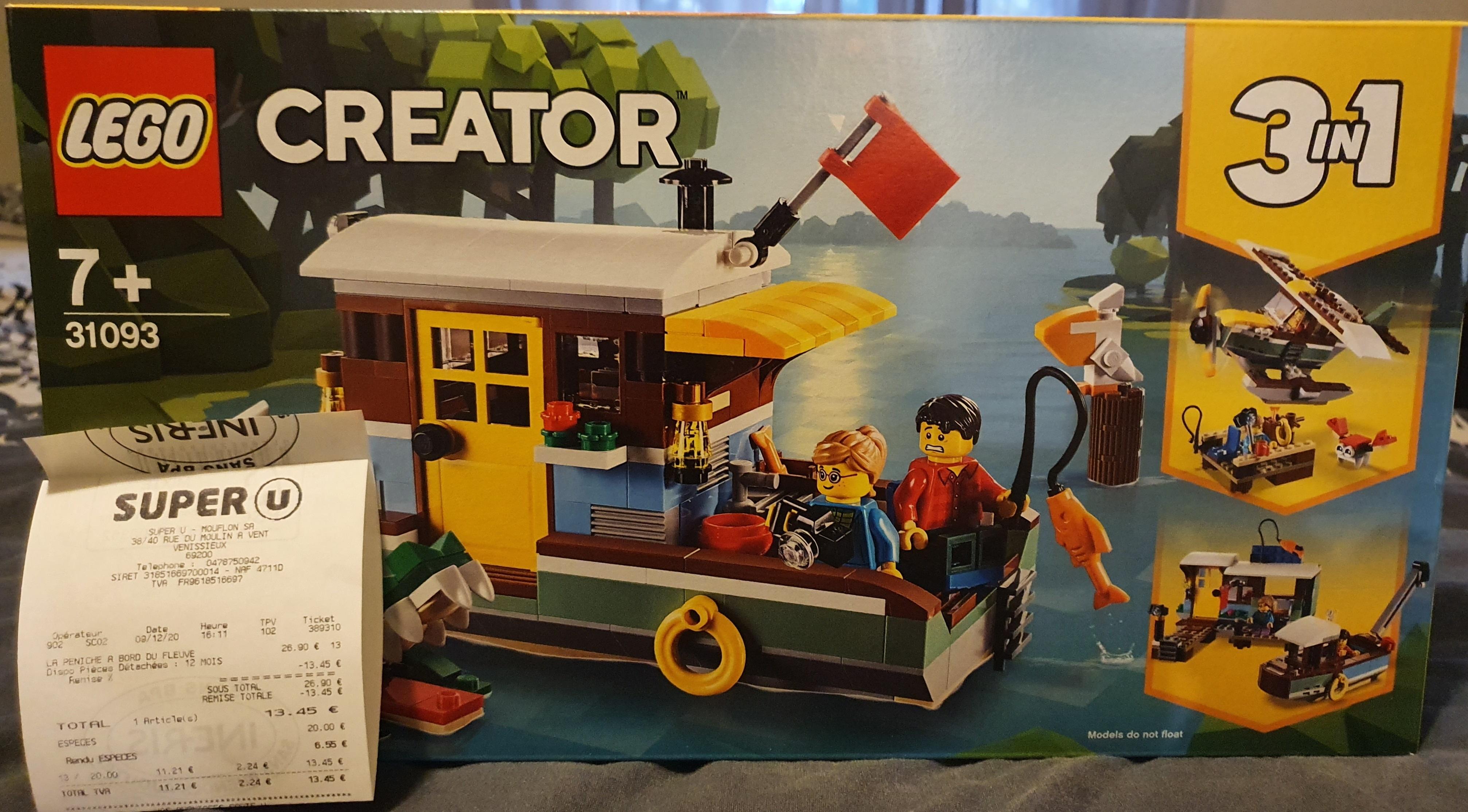50% de réduction sur une sélection de jouets - Ex: Lego Creator La péniche au bord du fleuve 31093 - Super U Moulin à Vent (69)