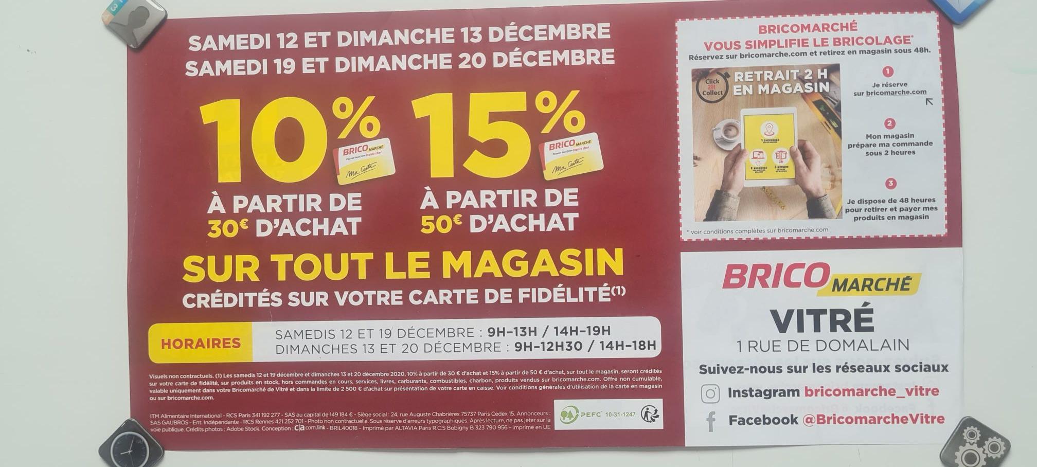 10% offerts sur la carte fidélité à partir de 30€ et de 15% à partir de 50€ - Vitré (35)