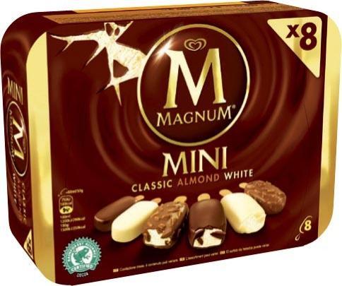 Lot de 8 mini glaces Magnum Classic/Almond/White (avec 1,03€ sur la carte + BDR de 1€)