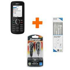 Téléphone Nokia C1 + Chargeur 3 en 1 Nokia - 2 USB Energizer + Kit mains libres filaire argent Oxo