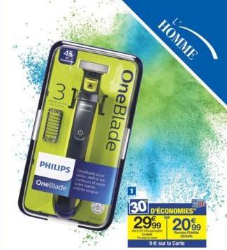 Rasoir électrique Philips OneBlade (avec 9€sur la carte)