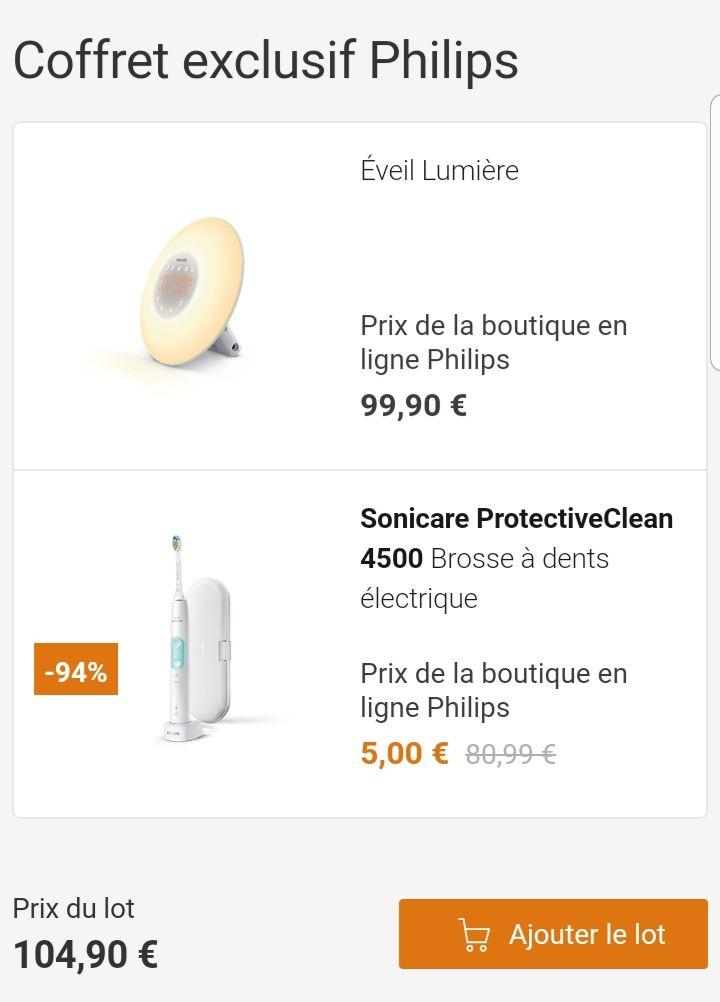 Jusqu'a 80€ de remise sur les coffrets Philips - Ex : Éveil Lumière HF3507/10 + Philips Sonicare ProtectiveClean 4500