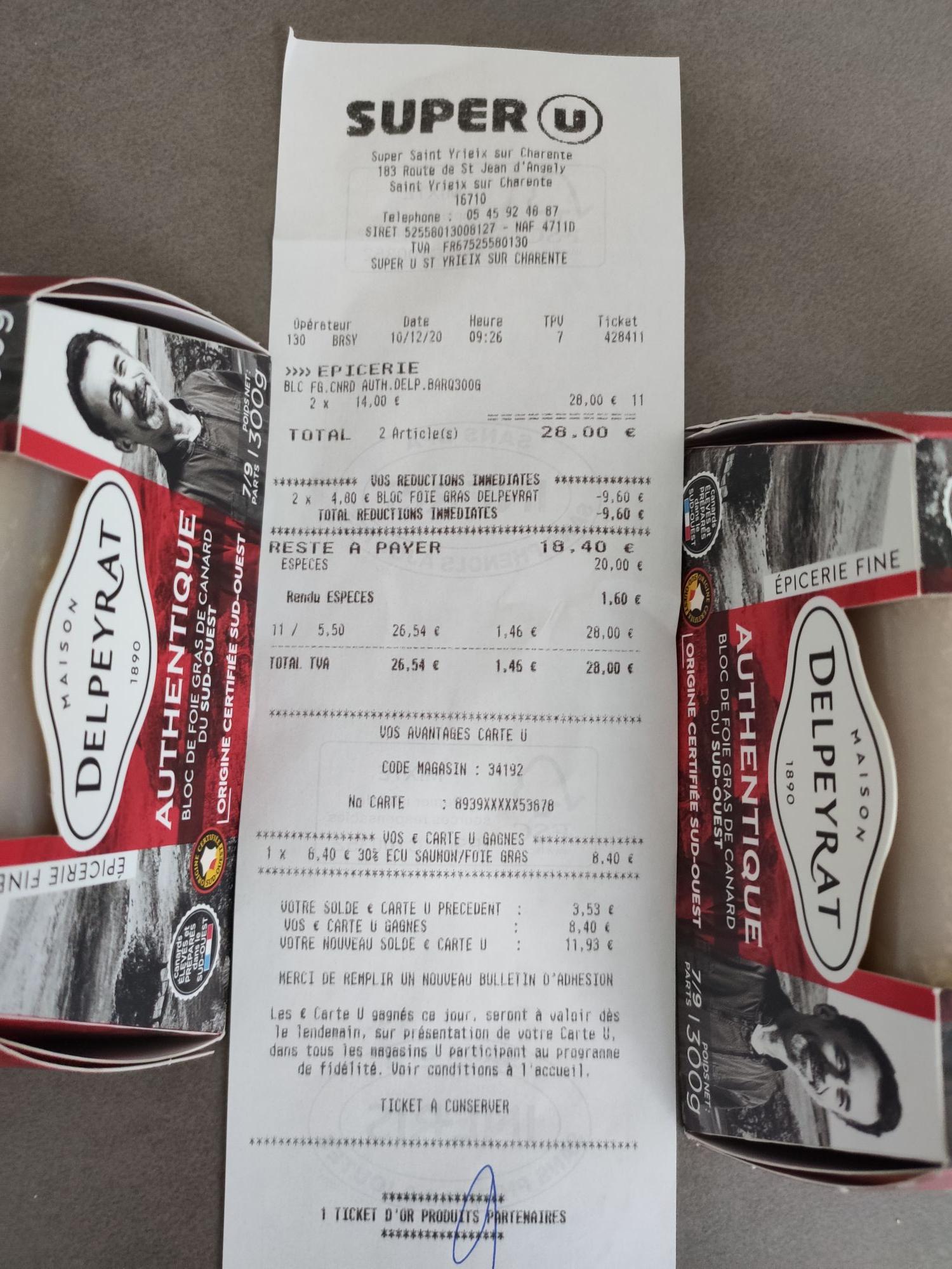 Lot de 2 blocs de foie gras de canard Delpeyrat Authentique - 2x300g (via 8.4€ sur la carte de fidélité)