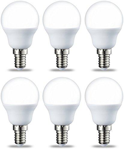 Lot de 6 ampoules LED E14 P45 AmazonBasics - Type globe, avec culot à vis, 5.5W (équivalent ampoule incandescente de 40W), blanc chaud