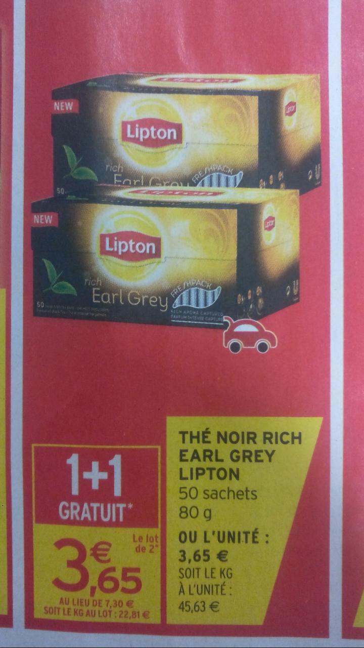 2 Boîtes de Thé Noir Rich Earl Grey Lipton - 50 sachets (via BDR)