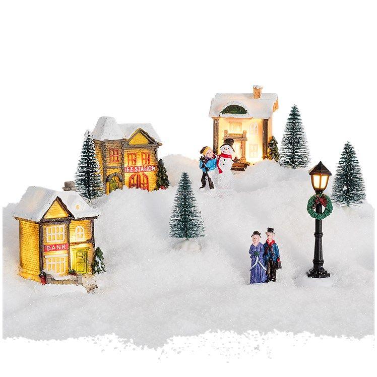 Village de Noël avec illuminations LED - 10 pièces