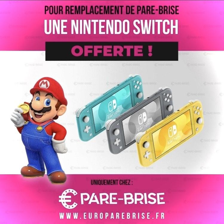 Console Nintendo switch Lite offerte pour tout remplacement de pare-brise - Euro Pare brise Orléans (45) ou bon cadeau de 150€