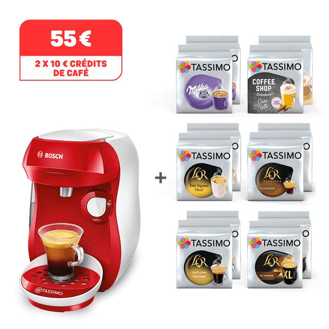 Machine à café Tassimo Happy + 12 Paquets de dosettes Tdiscs