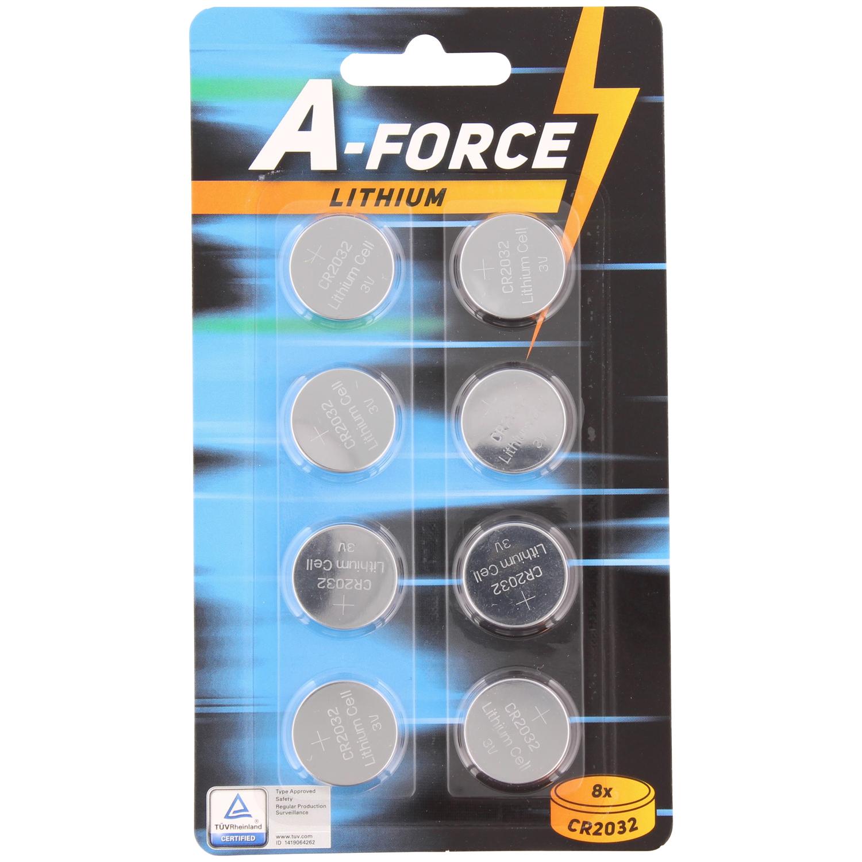 Lot de 8 piles bouton A-Force CR2032