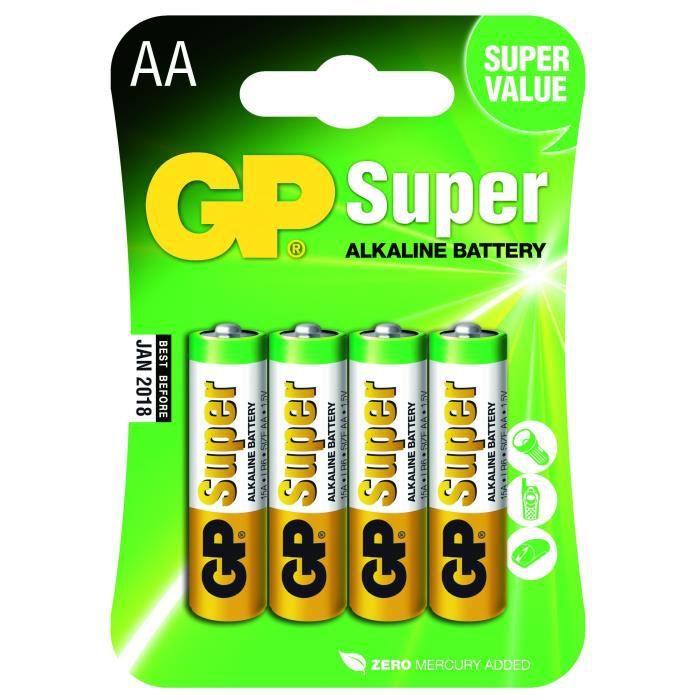 Pack de 4 piles GP Super - AA / LR06